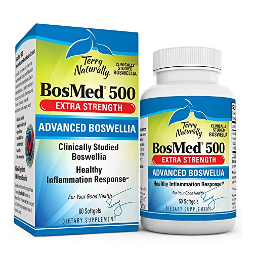 Terry Naturally BosMed 500-500 mg Boswellia, 60 Softgels - Clinically Studied Boswellia Supplement, Supports Healthy Inflammation Response - Non-GMO, Gluten-Free - 60 Servings