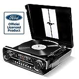 ION Audio Mustang LP - Chaîne Hi-Fi Rétro Ford Mustang 4-en-1 avec Platine Vinyle,...