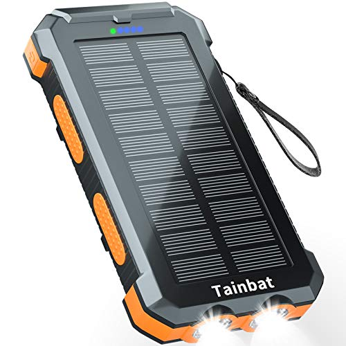 Solar Charger 30000mAh, Solar Power Bank with Dual Output Ports and LED Flashlight, Waterproof...
