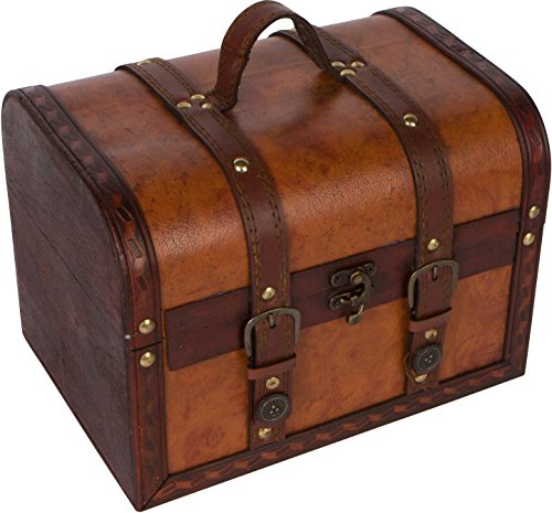 Wood and Leather Decorative Chest by Trademark Innovations (X-Large)