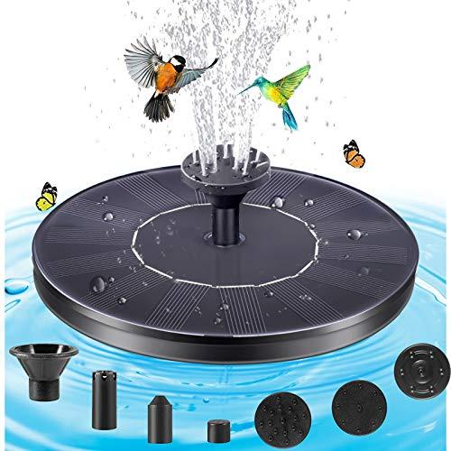 Solar Springbrunnen Pumpe Mini Brunnen Solar Teichbrunnen Wasserpumpe Solarpumpe Vogeltränke Brunnen Schwimmender Fontäne Pumpe mit 4 Anti-Kollision Bars für Vogelbad Teich pool Garten terrassen