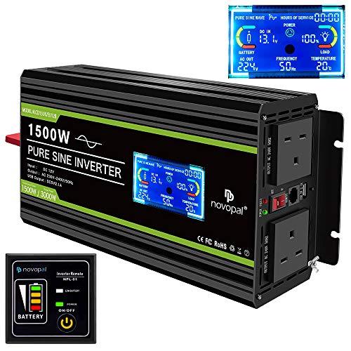NOVOPAL 1500W Pure Sine Wave Inverter 12V to 230V 240V Car...
