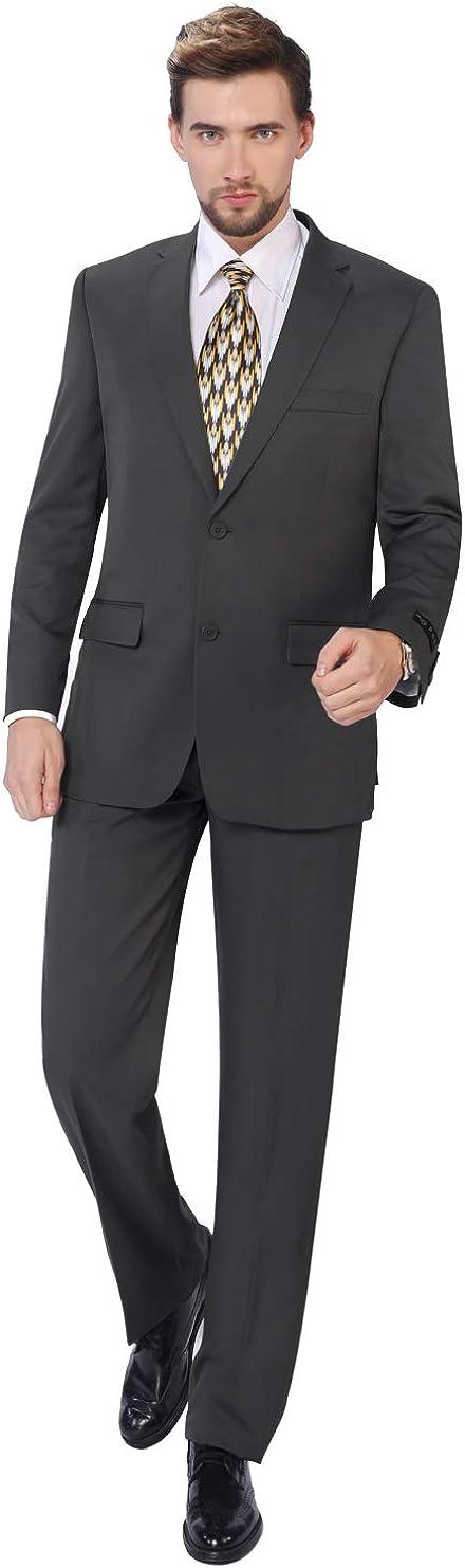 P&L Men's Suits 2-Piece Classic Fit Single Breasted 2 Buttons Blazer & Trousers Suit