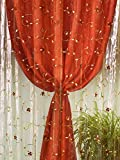 Home Collection TDS118 Tenda Doppia Shantung, Poliestere, Arancio, 140x290 cm