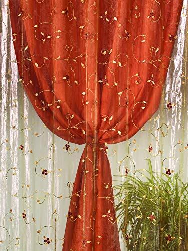 Home Collection TDS118 Tenda Doppia Shantung, Poliestere, Arancio, 140x290 cm