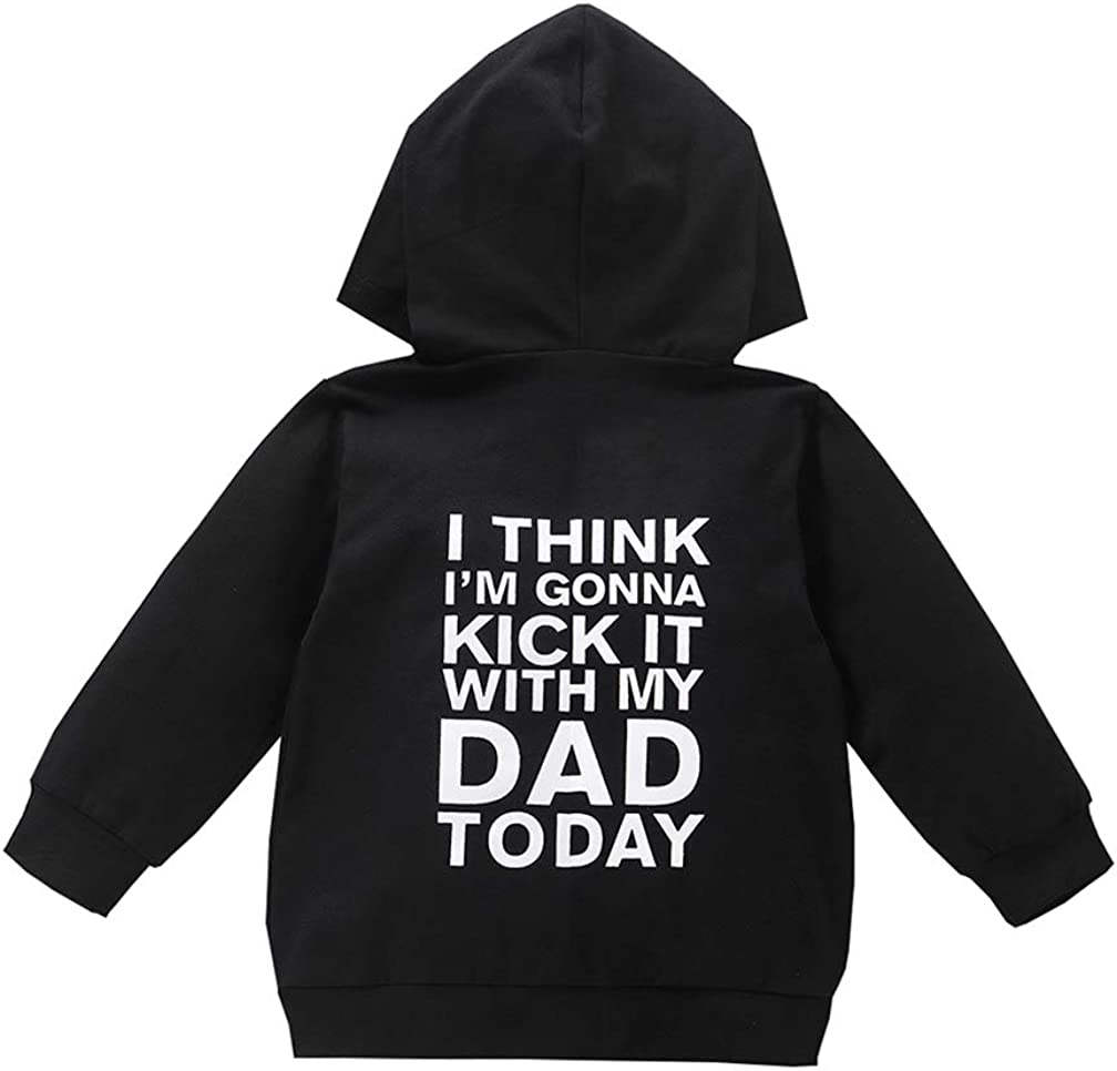 1-6T Toddler Baby Boy Girl Hoodies Sweatshirt Daddy Mom Zipper Hooded Pullover Girls Boys Fall Winter Clothes Outfits