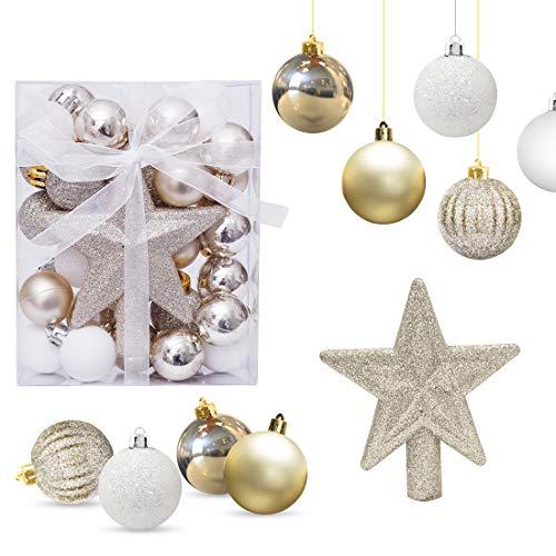 O-Kinee Bolas de Navidad Blanco y Dorado, Adornos de Navidad para Arbol, 30PCS Bolas para Arbol de Navidad, Decoracion Arbol Navidad,Regalos de Colgantes de Navidad, 3CM (Oro)