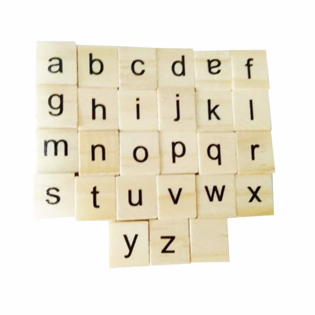 Haodou 100 unids/Set Inglés Palabras Letras de Madera Alfabeto Azulejos Negro Scrabble Letras Y Números para Artesanías Madera: Amazon.es: Hogar