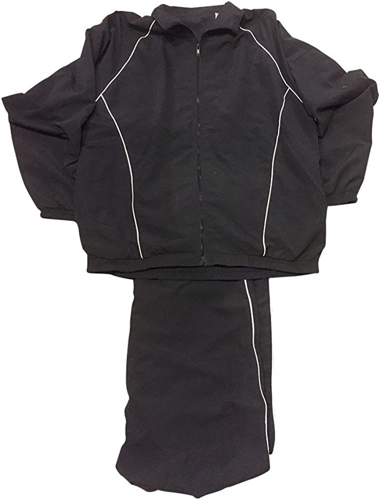 Cotton Traders LD Sport Big and Tall Microfiber Jog Suit Black with White Piping
