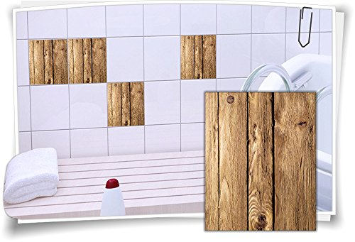 Medianlux Fliesenaufkleber Fliesen Aufkleber Holz Baum Kiefer Fichte Rustikal Bad WC Küche Kachel Imitat Deko Holzimitat, 12 Stück, 20x25cm