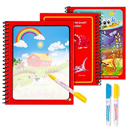 Diealles Shine 3 Magic Water Book, Acqua Libro da colorare Magico con Magic Pen Painting Board per Bambini Istruzione Drawing Toy, Animale