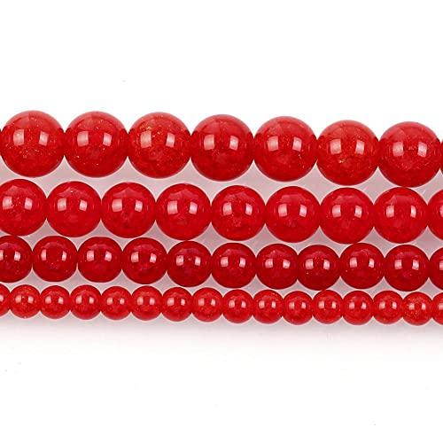 Piedra natural rojo agrietado encanto de cristal redondo cuentas sueltas para hacer joyas aguja pulsera DIY Strand 4/6/8/10/12 mm H7124 8mm aproximadamente 48pcs