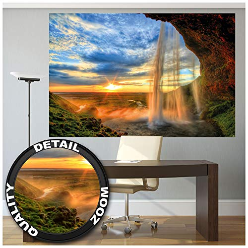 GREAT ART Wall Mural Sunset in the Nature Park Mural Decoration Seljalandsfoss Waterfall Island Landscape Nature Waterfall Sunset I paperhanging Wallpaper poster wall decor by (82.7x55 Inch)