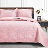 Love's cabin Twin Quilt Set Pink Bedspreads - Soft Bed Summer Quilt Lightweight Microfiber Bedspread- Modern Style Coin Pattern Coverlet for All Season - 2 Piece (1 Quilt, 1 Pillow Sham)