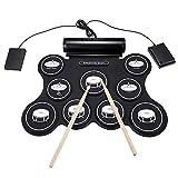 Tambor Electrónico 9 Pad Electronic Roll Up Drum Portable Electronic Drum Kit USB MIDI Tambor con Baquetas Pedales para Niños Principiantes