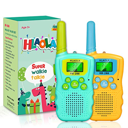 HLAOLA Walkie Talkies for Kids,3 KMs Long Range 22 Channels 2 Pack Kids Gift Toys with Backlit LCD Flashlight,Walky Talky for Kids The Best Gift for Age 3-12