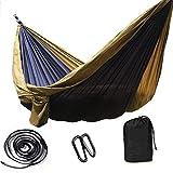 Double1-2 persona paracaídas hamaca, hamacas portátil de viaje, ultraligero duradero y transpirable de secado rápido al aire libre con mochila de senderismo, Tamaño: 300x200cm (118x79inch), Color: Gri