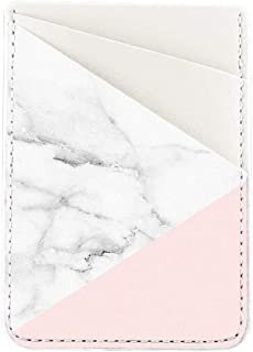 Obbii Baby Pink Marble PU Leather Card Holder for Back of Phone with 3M Adhesive Stick-on Credit Card Wallet Pockets for iPhone and Android Smartphones