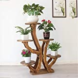 Support de fleurs en bois massif multicouche intérieur pot de fleurs rack balcon salon plante étagère décoration étagères Étagère à Fleurs en Bois HJ625 (Color : E)