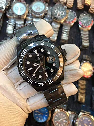 AGEGIERA Orologi Meccanici Automatici Nuovi di Zecca Full Black Blue Ceramic Bezel Red GMT Acciaio Inossidabile Sapphire Master II AAA +2