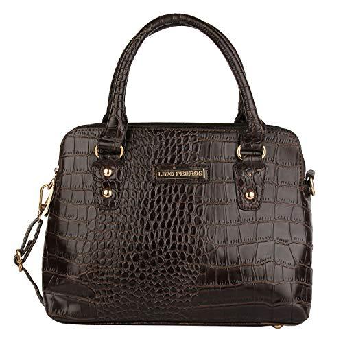 Lino Perros Grey Faux Leather Handbag (BROWN)
