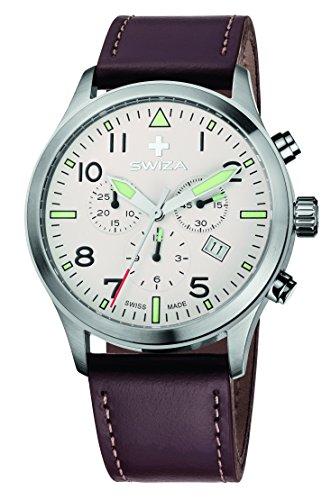 Swiza Reloj Siriuz de Acero Inoxidable para Hombre Wat.0353.1003 con Correa de Cuero Negro