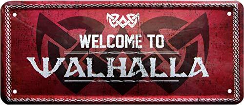 Welcome to Walhalla Wikinger 28x12 Deko Spruch Blechschild 1298