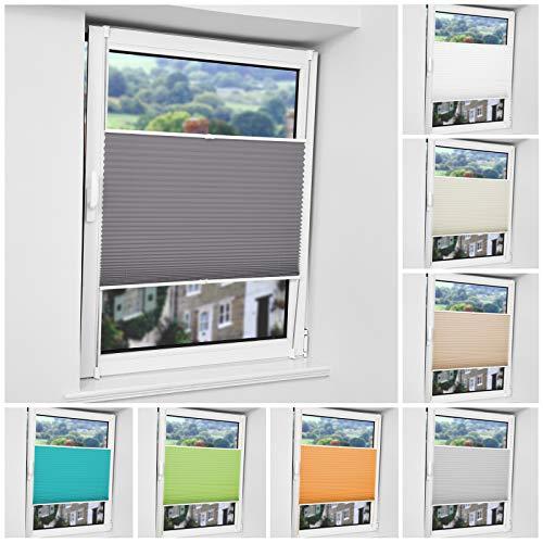 Plisseerollo ohne Bohren Klemmfix Rollo Sichtschutz und Sonnenschutz Easyfix Plissee Lichtdurchlässig für Fenster & Tür Anthrazit 40x130cm(Stoffbreite × Maximale Stoffhöhe)