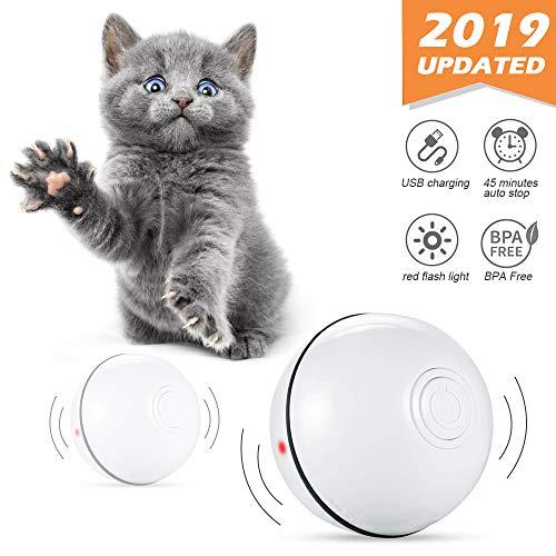 Phiraggit Juguete Gato Pelota, Juguete Interactivo para Mascotas,Bola de Gato- Carga USB Bola Giratoria Automática de 360 Grados - Batería Recargable Incorporada - para Ejercicio Animal Doméstico