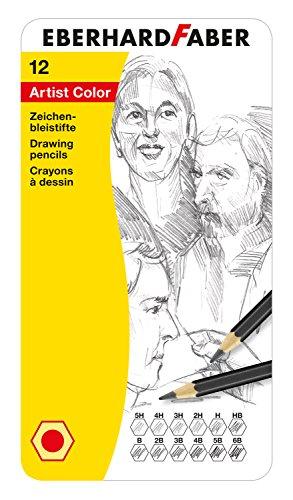 Eberhard Faber 516913 - Artist Color Zeichenbleistifte, 12 verschiedene Härtegrade, im Metalletui, zum Malen, Illustrieren und Zeichnen