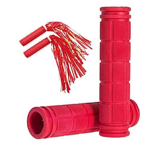 Rot Fahrradgriffe mit Quaste für Kinder, Rutschfester Weichem Gummi Ergonomisch Fahrrad Griffe Lenkergriffe Handgriffe Lenker Griff für MTB Mountainbike Fahrrad (Rot mit Quaste x 1 Paar)