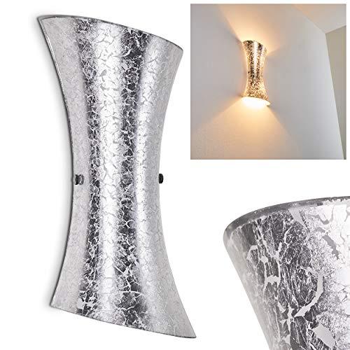 Applique murale Rivoli in Vetro colore argento strutturato - Lampada da parete argentata con attacco 2 x E14 - Diffusione Luce Up Down su giu