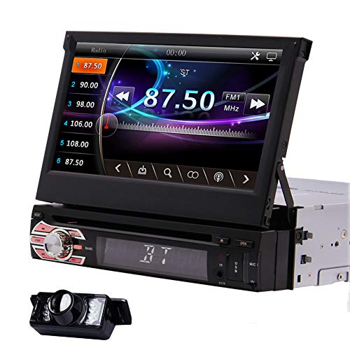 1Din Car Radio GPS Stereo Navigation System 7inch Car DVD CD Player Capacitive Touchscreen in Deck Headunit Support Mirror Link for Android Smart Phone Steering Wheel Control with Reversing Camera