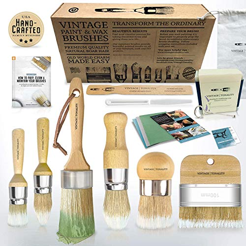 Vintage Tonality Chalk Wax Paint Brush Set Bundle | Furniture Painting or Waxing | 17 PCS 6 Brushes 11 Tools + Extras | Large or Small DIY Home Decor Repurposing Projects | Thick Natural Bristle Hairs