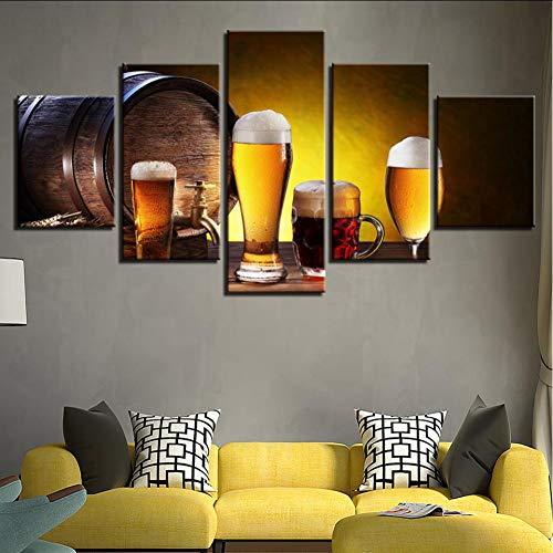 JKXIANSHENG Gemälde Wanddekoration Hd Modular Fünf Stücke Multi-Link Qingdao Bier Home Bar High-End Muralframedm