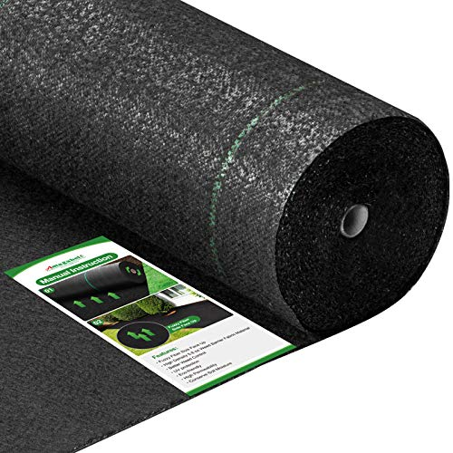 Amagabeli 5.8oz 4ft x 100ft Weed Barrier Landscape Fabric Heavy Duty Ground Cover Weed Cloth Geotextile Fabric Durable Driveway Cover Garden Lawn Fabric Outdoor Weed Mat