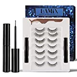 LAMIX Upgrade Magnetic Eyeliner and Lashes No Magnets Natural False Lashes 7 Pairs with Free Tweezers No Glue Needed