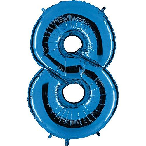 Ballon Zahl in Blau - XXL Riesenzahl 100cm - für Geburtstag Jubiläum & Co - Neun - Party Geschenk Dekoration Folienballon Luftballon Happy Birthday (Zahl 8)