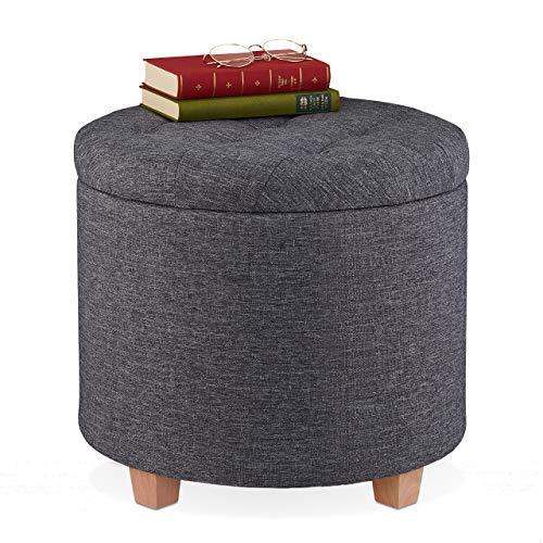 Relaxdays Sitzhocker mit Stauraum, gepolsterter Hocker rund, für Wohnzimmer, Leinen-Optik, H x D: 41 x 44 cm, dunkelgrau