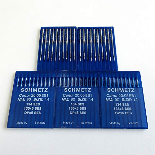 50 agujas Schmetz 134 SES 135X5 Dpx5 para máquina de coser industrial (12/80)