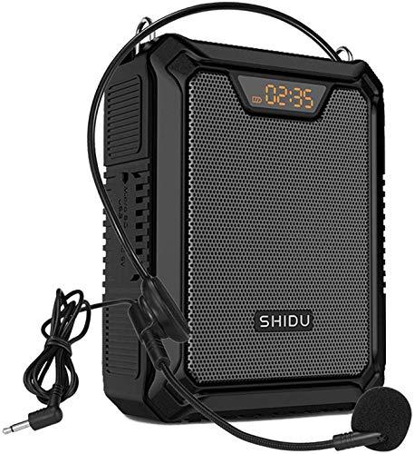SHIDU 25W Amplificador de voz con micrófono con cable, petaca Portátil Impermeable Sistema de Pa personal, compatible con Bluetooth/TF/USB/AUX para profesores, guías turísticos, reuniones etc (Negro)