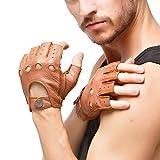 Nappaglo Men 's Deerskin fingerless guantes medio dedo de cuero guantes de conducir moto Ciclismo Equitacion sin forro (S (Palm circunferencia: 8.1'), arena)