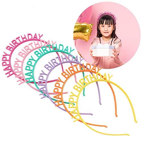 Dusenly 6 x Diademas de Feliz cumpleaños Plástico Colorido Diademas para niñas Accesorios para el Cabello Favores de decoración de Fiesta de cumpleaños, 6 Colores