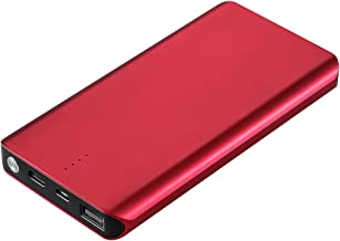 8000mAh Portable Charger Power Bank with Cable Built in Compact External Battery Pack, Ultra-Slim, High-Speed Charging for iPhone, iPad, Tablets,LG,Huawei,Samsung Galaxy & More Gold (red)