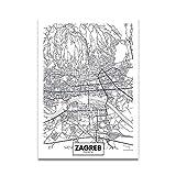 Schwarz Weiß Wort Poster Stadtplan Zagreb Print Leinwand