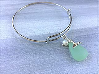 Whales Tail and Sea Glass Bangle Bracelet, Nautical Jewelry for Women