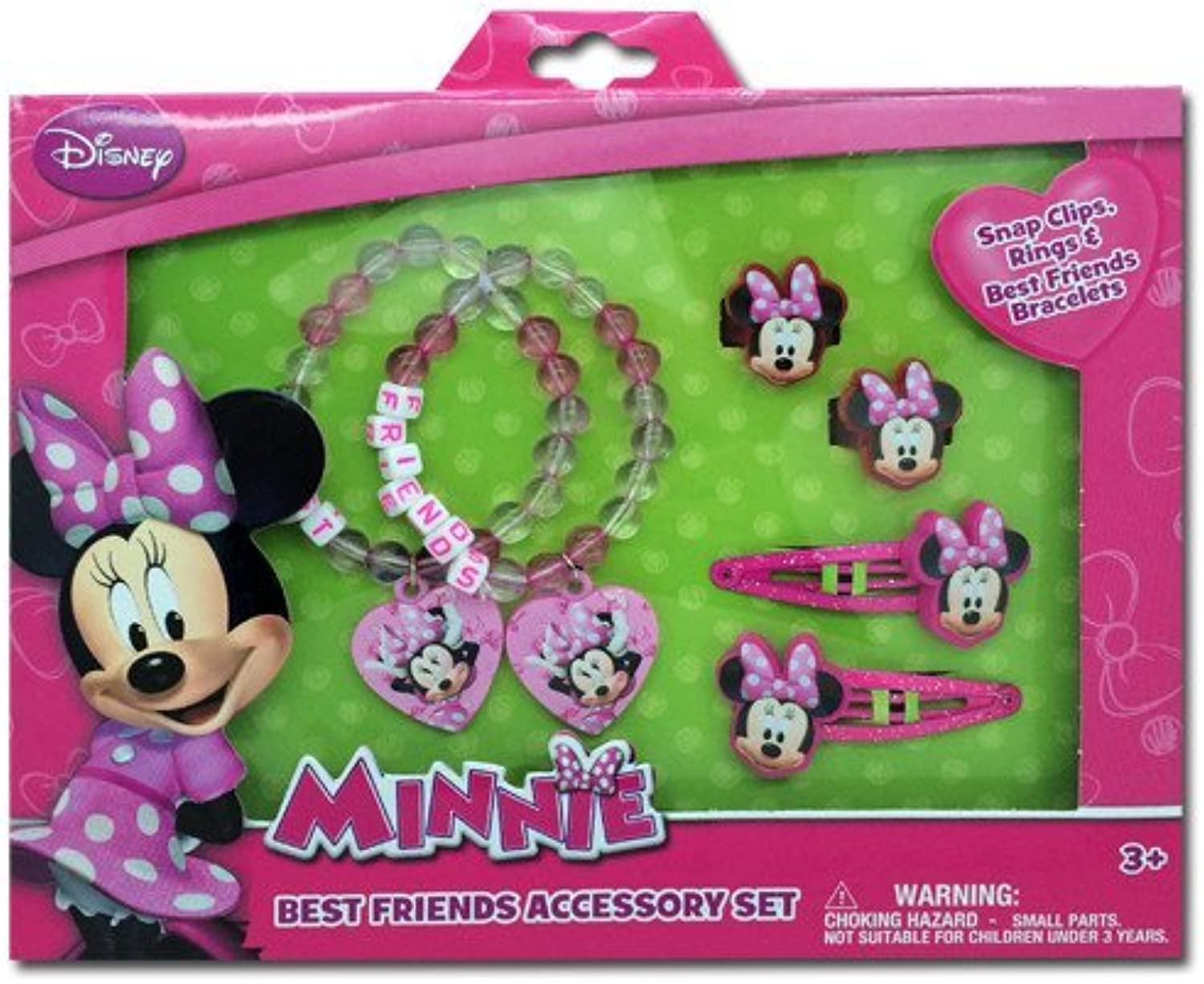 Minnie Mouse Box Set with Snap Clips, Beaded Charms Bracelets, & Rings by Minnie Mouse