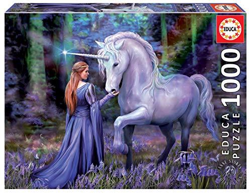 Educa 18494, Einhorn im Zauberwald, 1000 Teile Puzzle für Erwachsene und Kinder ab 10 Jahren, Fantasy, Märchen, Anne Stokes