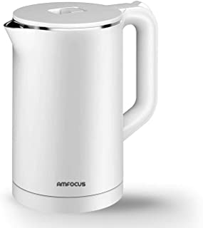 Electric Tea Kettle, 1.7L Anti-scald Double Wall Electric Water Kettle, 100% Stainless Steel Inner AMFOCUS Hot Water Boile...