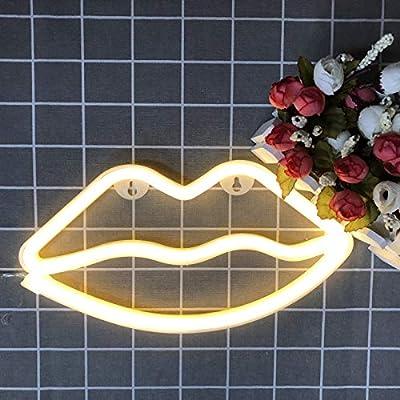 LED Neon Light Night Sign Decorative Art Wall Decor for Livingroom Birthday Party Decor Powered by Battery/USB (Warm Lip)